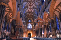 Looking back toward the entrance from the Lincoln Cathedral nave