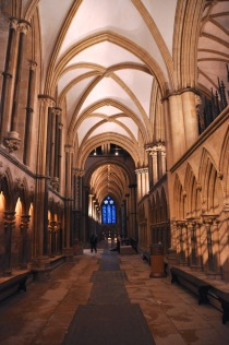 Looking down the aisle, west to east; notice the vaulting change