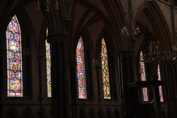 A few of the windows in the nave