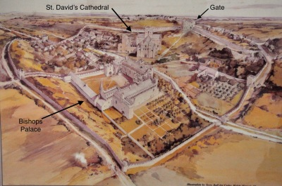 Illustration of St. David's Cathedral and the Bishop's Palace in the 1500's