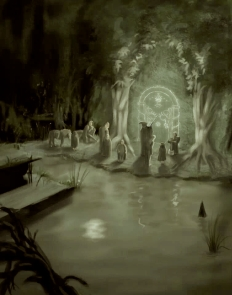 Illustration of the Doors of Durin, from Tolkien's Lord of the Rings