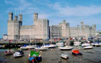Caernarfon Castle with its with its unique polygonal towers and banded walls