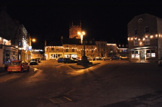 Historic Stow town center at night