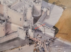 Artist concept of the Beaumaris Castle's south gate and dock