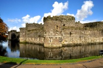 Beaumaris Castle walls and moat