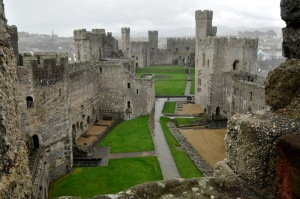 Inside Caernarfon Castle, looking at the Queen's Gate