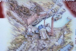 Illustration of the old Porthgain slate/brick/rock mill