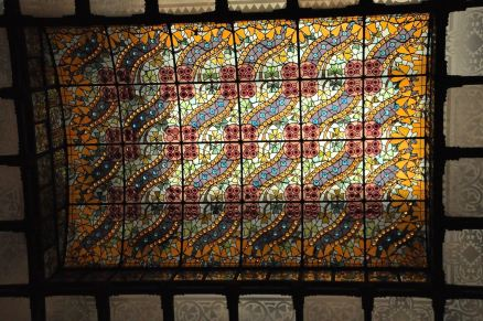 The beautiful stained glass ceiling