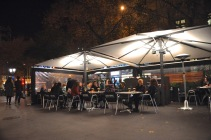 A bistro on the Passeig de Gracia central pedestrian walkway