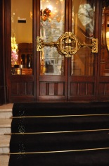 The interior door with fancy handles