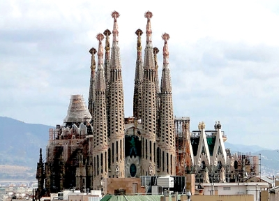 The Sagrada Familia, from the internet (with the construction cranes digitally removed)