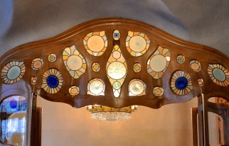 Patterned stained glass in the door header