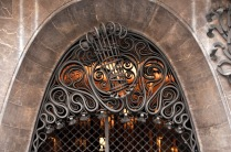 Elaborate wrought-iron design in the doorway