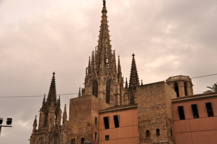 The Cathedral of Barcelona, peeking over the top