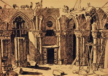 State of the Sagrada Familia crypt, 1883