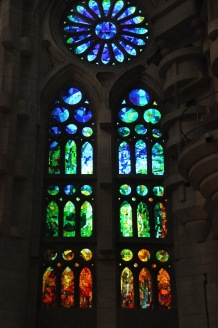 Stained glass windows to the side of the Nativity entrance