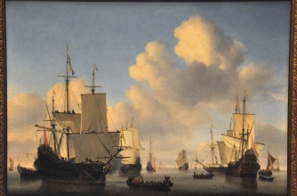 Dutch Ships in a Calm; by Willem van de Velde II, 1665
