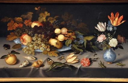 Still Life with Fruit and Flowers; by Balthasar van der Ast, 1620