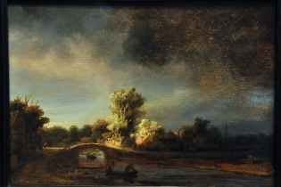Landscape with a Stone Bridge, by Rembrandt Harmensz van Rijn, 1938