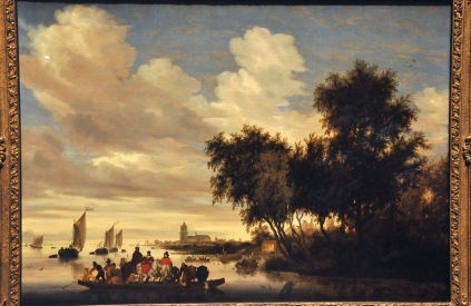 River Landscape with Ferry; by Salomon van Ruysdael, 1649