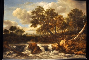 Landscape with Waterfall; by Jacob Isaacksz van Ruisdael, 1668.