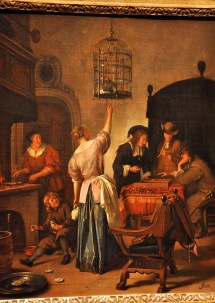 Interior with a Woman Feeding a Parrot, Known as 'The Parrot Cage'; by Jan Havicksz Steen, 1660