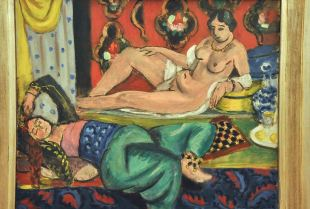 Two Odalisques, One Undressed, Ornamental Background and Checkerboard;by Henri Matisse, 1928