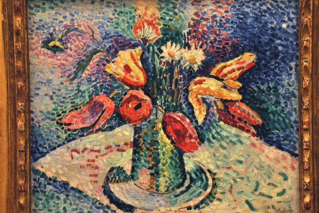 Parrot Tulips; by Henri Matisse, 1905, continuing to develop his Pointillist style